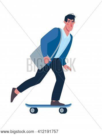 A Man Rides A Modern Skateboard. Environmentally Friendly Transport, Sports, Alternative Transportat