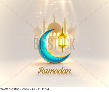 Ramadan Cover Card, Drawn Mosque Night View From Arch Background. Handwritten Greeting Card. Vector