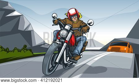 Illustration Landscape With A Motorcycle Rider. Vector