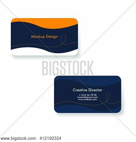 Design Business Cards Template. Vector Business Cards In Dark Colors. Dark Business Card With Orange