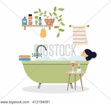 Woman Taking A Bath. A Female Character Is Relaxing In The Bathroom With A Glass Of Wine. The Girl I