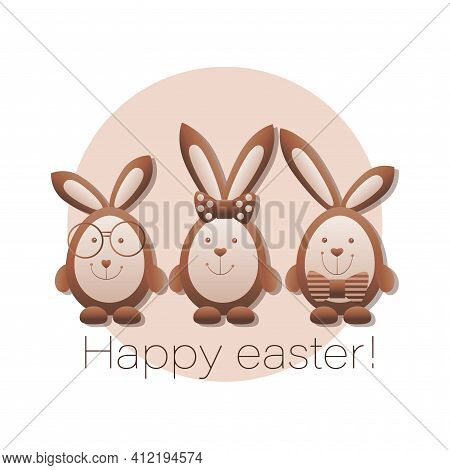 Cute Bunny. Chocolate Rabbits. Happy Easter. Design Postcard With Bunnies With Glasses, With Bow