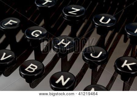 Detail Of Keys On Retro Typewritter