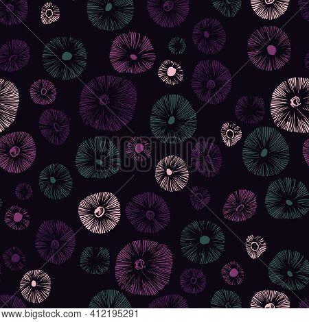 Mushrooms Caps Hand Drawn Linocut Seamless Vector Pattern. Mushroom Colours For Printing, Fabric, Te