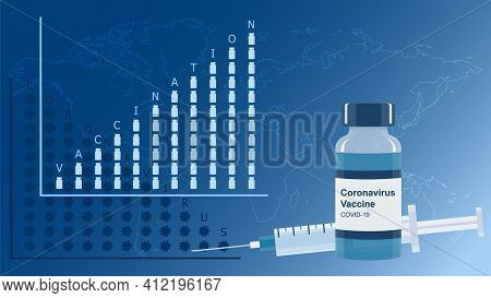 Coronavirus Vaccination Banner With Covid-19 Vaccine Bottle, Syringe, Statistics Growing And Declini