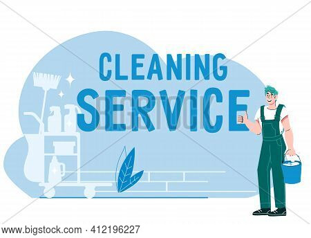 Banner For Cleaning Service With Smiling Cleaner Male Character, Cartoon Flat Vector Illustration Is