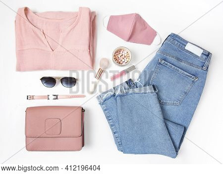 Fashion Woman Set Top View.girl's Clothing Flat Lay.female Garment On White Background.jeans And Top