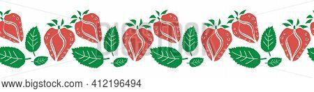 Strawberry Linocut Seamless Vector Border. Banner With Stencil Style Hand Drawn Red Berries, Green L