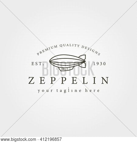 Vintage Zeppelin Airship Line Icon Logo Vector Illustration Design