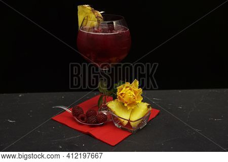 Raspberry And Pineapple Gin Cocktail. Colorful Cocktails Arranged In Glasses