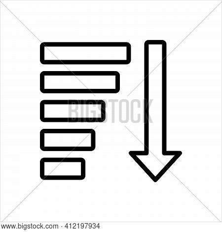 Black Line Icon For Descending Downward Arrow Decrease Chart Progress Statistic Financial