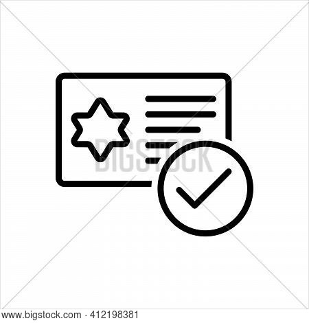 Black Line Icon For Qualification Merit Ability Eligibility Talent Aptitude Document