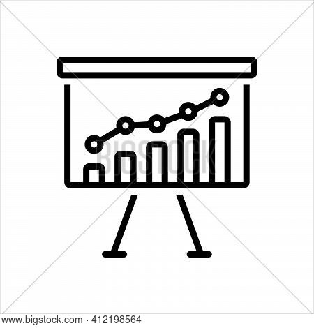 Black Line Icon For Trend Tendency Financial Market Growth Economic