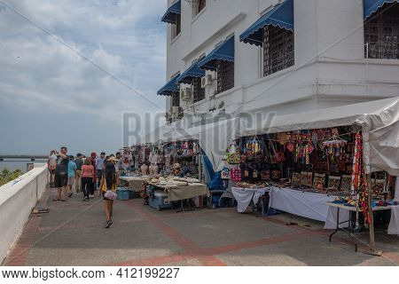 Souvenir Stalls On The Waterfront In Casco Viejo, The Historic District Of Panama City, Panama