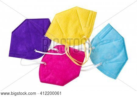 Colorful FFP2 masks isolated on a white background