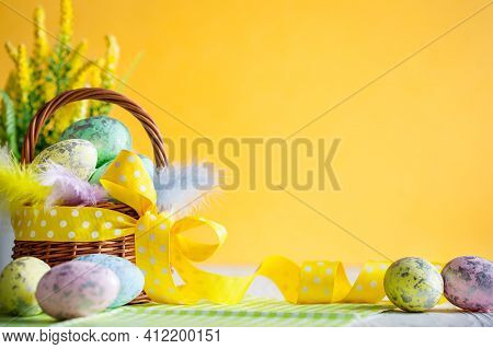 Happy Easter. Congratulatory Easter Background. Easter Eggs And Flowers. Background With Space For C
