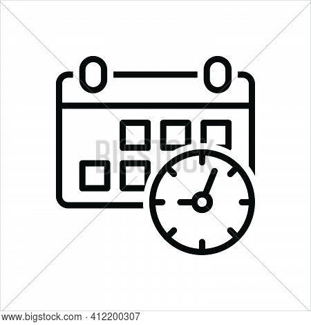 Black Line Icon For Appointment Calendar Day Deadline Appoint Agenda Calendar Reminder