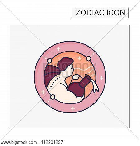Aquarius Color Icon. Eleventh Fire Sign In Zodiac. Water Bearer Birth Symbol. Mystic Horoscope Sign.