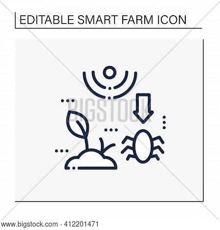Pests And Weeds Elimination Line Icon. Agriculture Machines Tasks. Crops Protection From Harm. Neutr