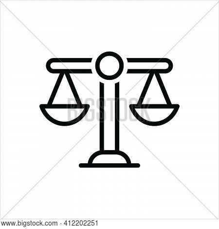 Black Line Icon For Scales Balance Justice Measurement Equilibrium Lawyer Liberty