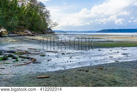 A View Of The Shoreline At Low Tide At Dash Point State Park In Washington State.