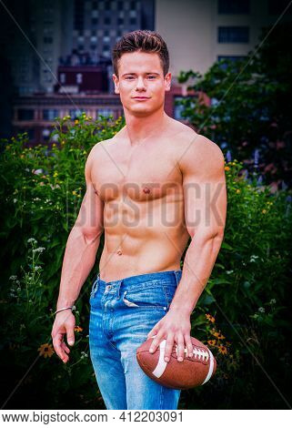 Man\'s Beauty. Shirtless, Half-naked, Wearing Jeans, A Young, Strong, Sexy Man, Holding An American