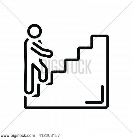 Black Line Icon For Beginners Catechumen Novice Climbing Confident Ladder