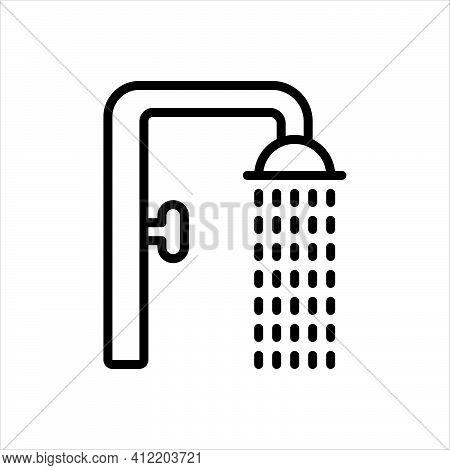 Black Line Icon For Shower Sprinkling Downpour Shower-bath Bathing Droplet