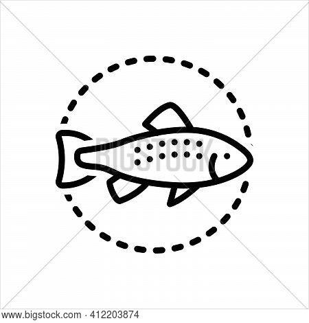Black Line Icon For Trout Salmon-fish Fish Aquatic Nature Animal Fishing