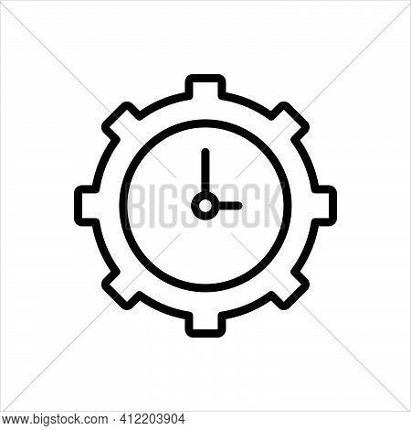 Black Line Icon For Utilization Use Activity Practice Usage Utilisation Clock