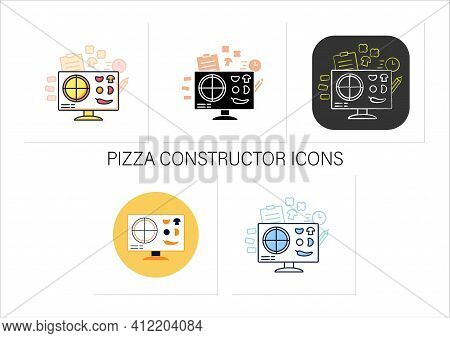 Pizza Constructor Icons Set.application Helps Create Perfect Pizza.click-and-collect Service.grocery