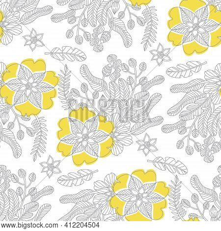 Doodle Flowers Seamless Pattern In Trendy Colors For 2021, Ultimate Gray And Illuminating, Page Adul