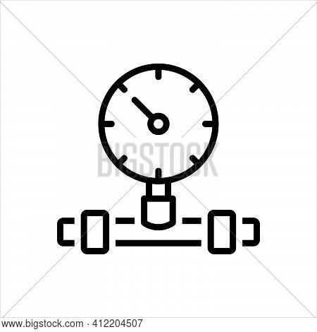 Black Line Icon For Pressure Gauge Equipment Control Manometer Indicator