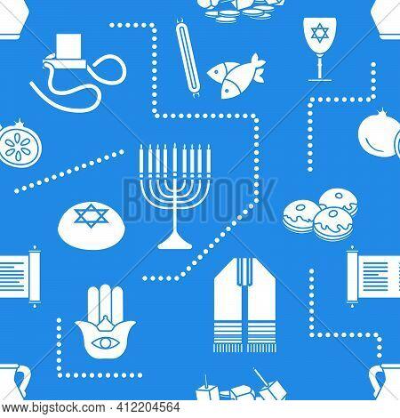 Vector Seamless Pattern Illustration Jewish Holiday Traditional Symbols Torah Scroll, Oil Jar, Pomeg