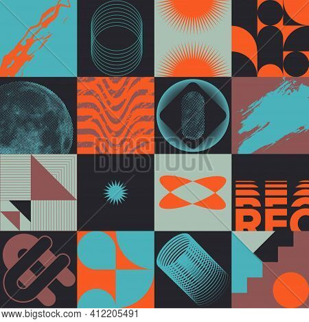 Set Of Colorful Abstract Postmodernism Designs With Bold Geometric Shapes, Useful For Web Background