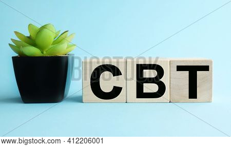 Cbt. Text On Wood Cubes. Text In Black Letters On Wood Blocks