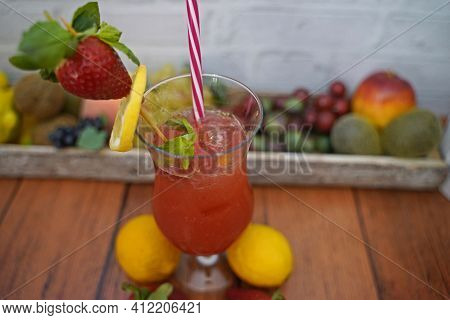 Strawberry Cocktail Non-alcoholic With Lime And Mint. Tasty And Fruity Non-alcoholic Cocktails Serve