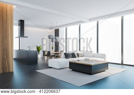 Open Space Home Interior With White Sofa On Grey Carpet, Black Floor. Kitchen Set, Faucet And Hood,