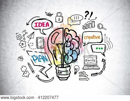 Colorful Online Business Education And Distance Learning Sketch Drawn On Concrete Wall. Concept Of S