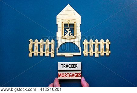 Tracker Mortgage Symbol. Concept Words 'tracker Mortgage' On Wooden Blocks On A Beautiful Grey Backg