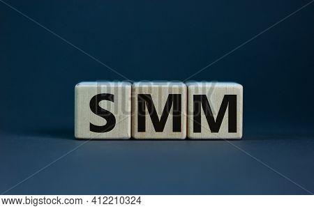 Smm, Social Media Marketing Symbol. Wooden Cubes With Word 'smo - Social Media Marketing' On Beautif