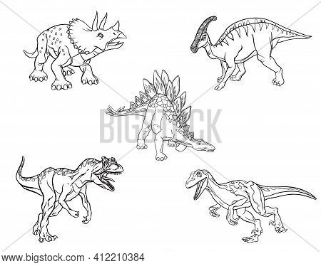 Set Of Linear Sketches Of Dinosaurs For Coloring Pages Isolated On White Background. Stegosaurus, Tr