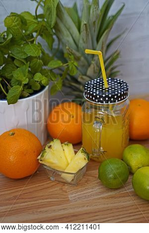 Tropical Lemonade With Lime In Glass. Tasty And Fruity Lemonade Arranged In Glass