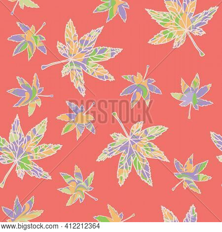 Colorful Maple Leaves Seamless Repeating Pattern With Cantaloupe Orange Background . Vector Illustra