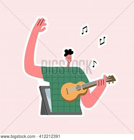 Online Music. Online Music Lessons. Young Man Plays The Ukulele On The Tablet Screen. Vector Isolate