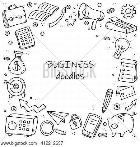 Hand Drawn Banner Of Business And Finance Elements, Coin, Calculator, Piggy, Money. Doodle Sketch St