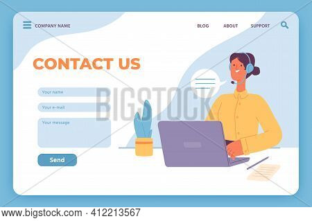 Contact Us Landing Page. Website Customer Service, Female Operator With Laptop And Email Feedback Fo