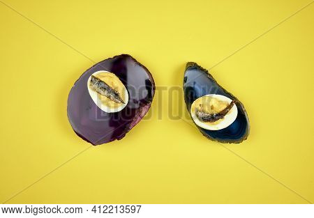 Boiled Eggs With Mayonnaise And Anchovy. In France They Are Known As \