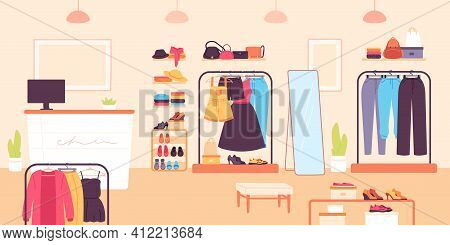 Fashion Store. Clothing Retail Shop For Women With Dresses, Shoes And Bags. Boutique Room With Count