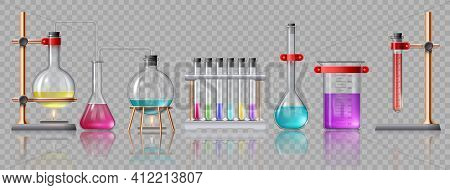 Realistic Laboratory Equipment. Glass Tubes, Flasks, Burner And Beaker With Chemicals On Holders. Ch